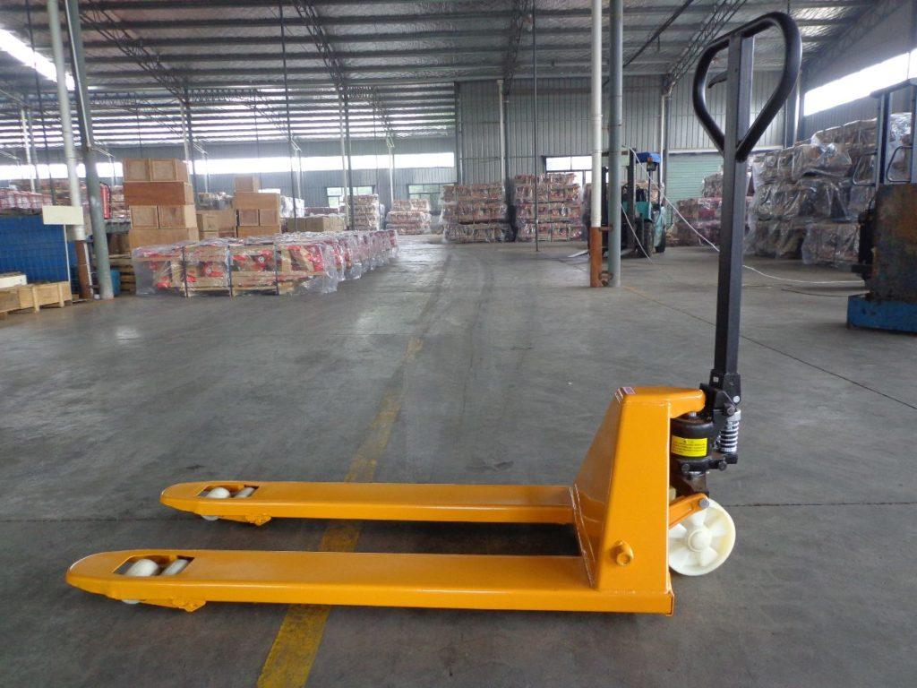 hand lift pallet truck in warehouse