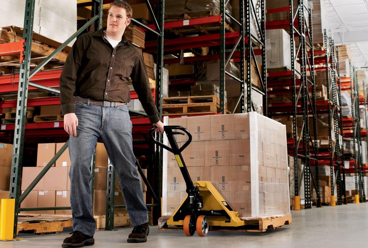 pallet truck handling in warehouse