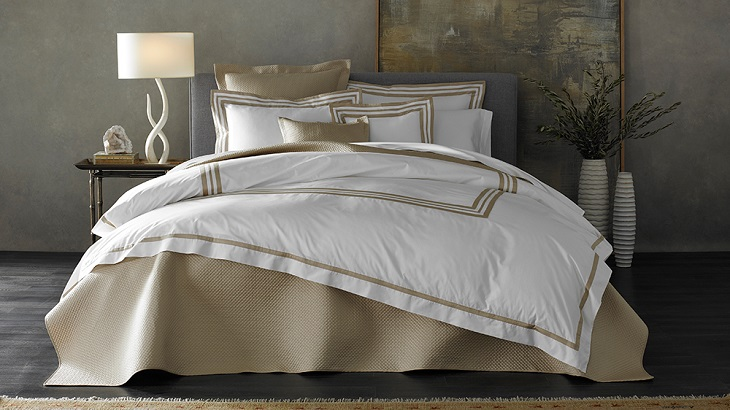 golden white sheets and room design