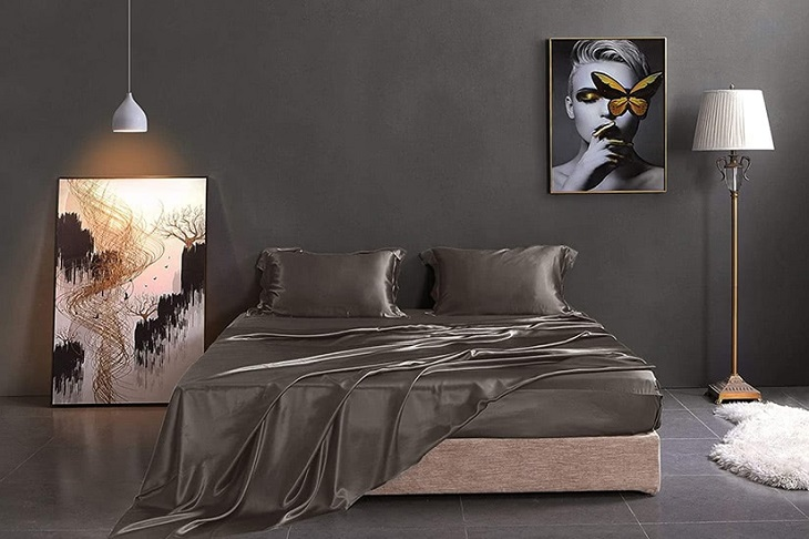 brown linen sheets in brown design bedroom