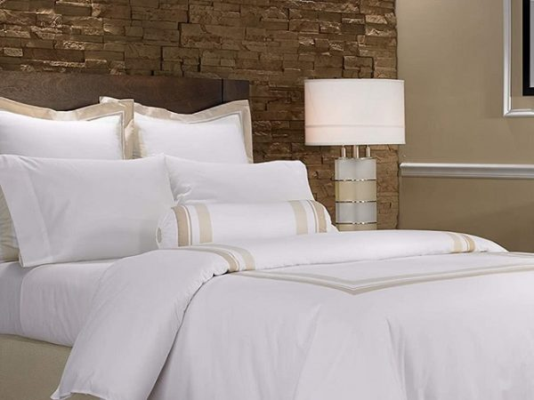 white and gold luxury bed sheets